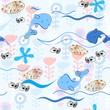 Babies hand-drawn sea seamless pattern. Sea background