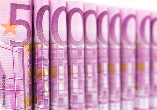 Poster cash money EURO bills , 500 euros macro