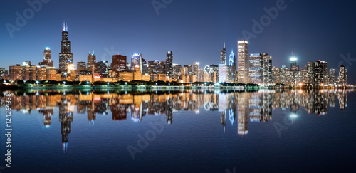 Fotobehang Chicago Chicago Night Skyline