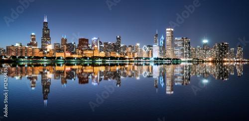 Chicago Night Skyline Poster