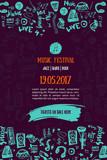 Fototapety Music concert background. Festival modern flyer vector illustration. Music event Poster template design.