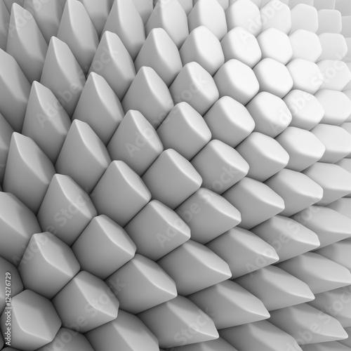 Zdjęcia na płótnie, fototapety na wymiar, obrazy na ścianę : White abstract hexagons backdrop. 3d rendering geometric polygons