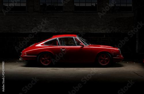 911 Oldtimer roter Sportwagen, Rennauto siebziger Jahre Poster