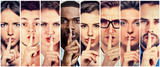 Group of people men women with finger on lips gesture - 124300931