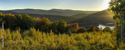 Catskills Reservoir Autumn Sunset Panorama - 124308931