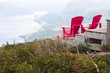Two red chairs at a Lookout Trail summit in Gros Morne, Newfoundland
