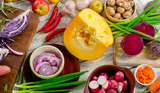 Raw vegetables background.