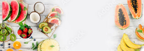 Raw Fruits background. Healthy food concept.