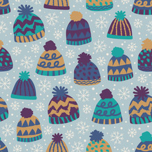 Naadloze winter patroon met caps en sneeuwvlokken