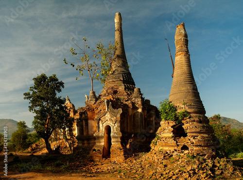 Ruined buddhist stupas in Inn Dein, Myanmar Poster