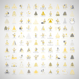 Christmas Icons Set -Isolated On Gray Background.Vector Illustration,Graphic Design.For Web,Websites,App,Print,Presentation Templates,Mobile Applications And Promotional Materials, Hand Drawn