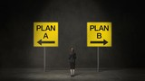 Businesswoman choose Plan A arrow or Plan B arrow. decided ways. makes decision.