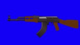 Cartoon Vector AK47 Fast Automatic Shooting on a Blue Screen Background