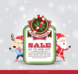 Christmas sale tag with Santa Claus  Reindeer