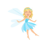 Cute Fairy In Blue Dress Girly Cartoon Character Wall Sticker