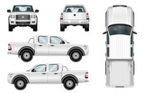 Fototapety Pickup truck vector template isolated car on white background. All elements in groups on separate layers.