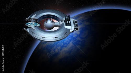 Foto op Canvas UFO Andockmanöver eines Raumschiffs an die Raumstation
