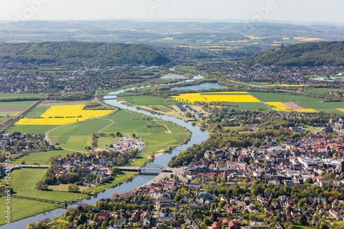 Fotobehang Olijf Weser und Porta Westfalica