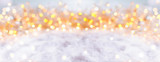 Fototapety Abstract winter background with snow and golden lights  -  Panorama