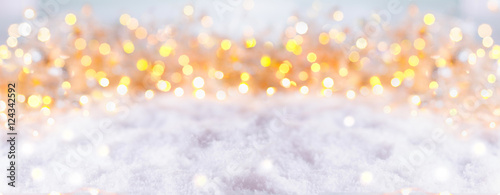 Papiers peints Photos panoramiques Abstract winter background with snow and golden lights - Panorama