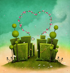 Conceptual illustration of fantasy green labyrinth with rose arch in the form of heart