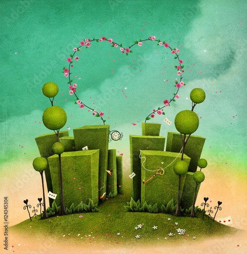 Conceptual illustration of fantasy green labyrinth with rose arch in the form of heart © annamei