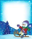 Snowman on sledge theme image 4