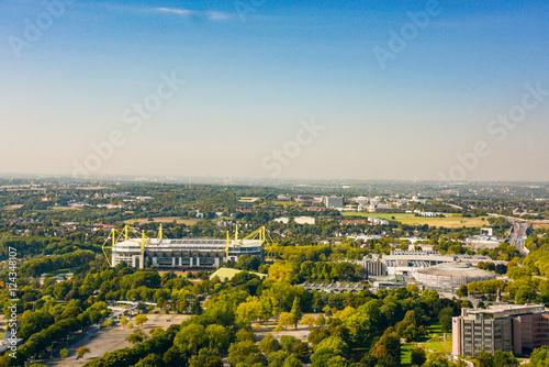 Leinwanddruck Bild panoramic view of downtown dortmund and stadium, germany