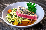 Grilled tuna steak with vegetable and soya sauce