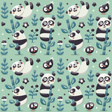 Seamless cute pattern with Panda and bamboo, plants, jungle, bird, berry, flowers