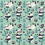Seamless cute pattern with Panda and bamboo, plants, jungle, bird, berry, flowers