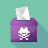 Long shadow ballot box with a pirate skull
