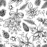 Fototapety Christmas botanical seamless pattern. Hand drawn vector backgrou
