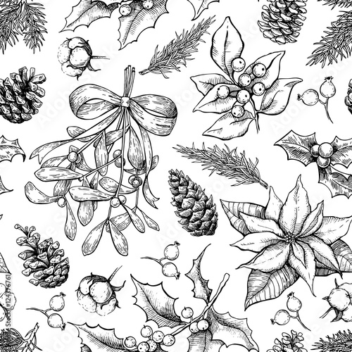 Cotton fabric Christmas botanical seamless pattern. Hand drawn vector backgrou