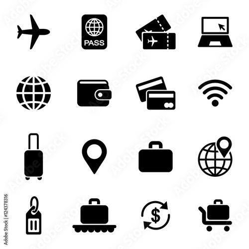 travel rest journey holiday simple icons set