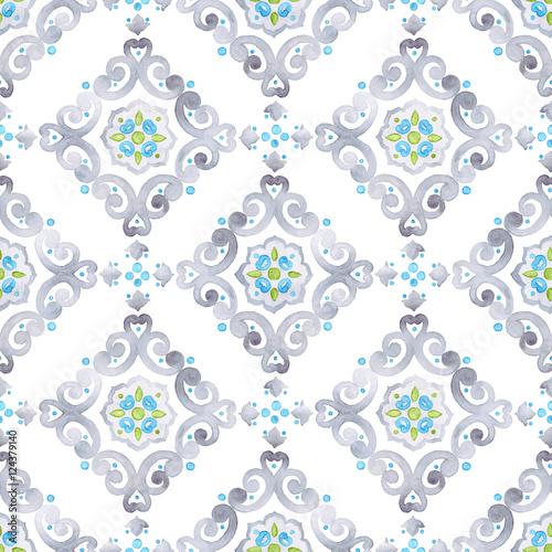 Watercolor seamless pattern, renaissance ornament - 124379140