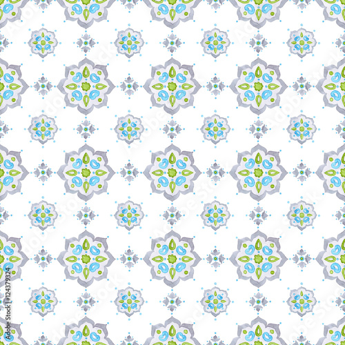 Soft gray, blue, and green Mediterranean tiling ornament - 124379324