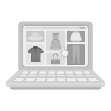 Online shopping icon in monochrome style isolated on white background. E-commerce symbol stock vector illustration.