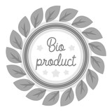 Bio-product icon in monochrome style isolated on white background. Label symbol stock vector illustration.