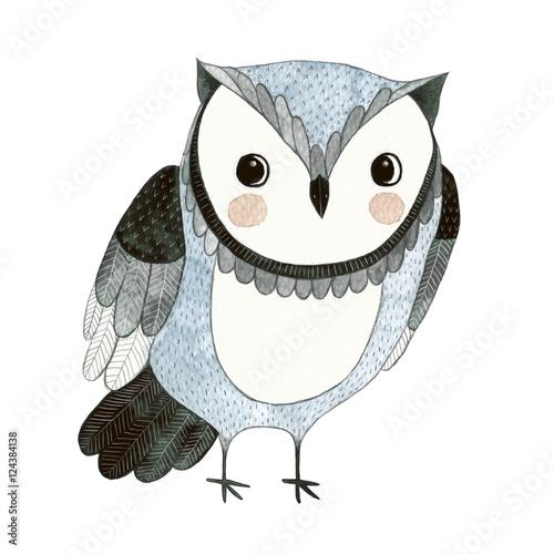ПечатьWatercolor funny kids illustration with owl - 124384138