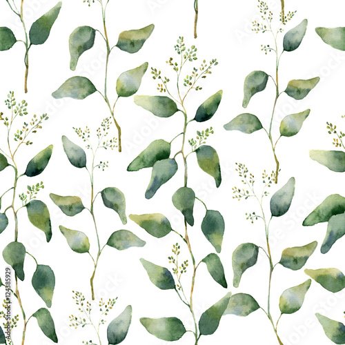 Watercolor green floral seamless pattern with flowering eucalyptus. Hand painted pattern with branches and leaves of eucalyptus isolated on white background. For design or background - 124385929