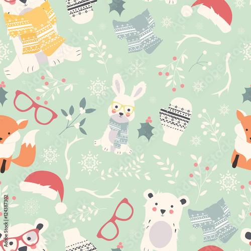 Materiał do szycia Bez szwu wzorów Wesołych Świąt z uroczych zwierzątek polar, niedźwiedzie