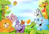 Cartoon animals, cheerful background © azzzya