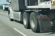 Blurred wheels of truck
