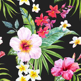 Fototapety Watercolor tropical floral pattern