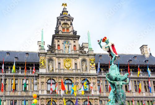 Foto op Aluminium Antwerpen Traditional City Hall at Cental square of Antwerp