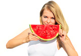 Young Woman eating big slice Watermelon Berry fresh in hands Beautiful Smiling Face and Blonde Hair Organic Food concept isolated on white background