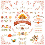 Autumn and Thanksgiving set with vintage ornate motifs and typographic design elements.