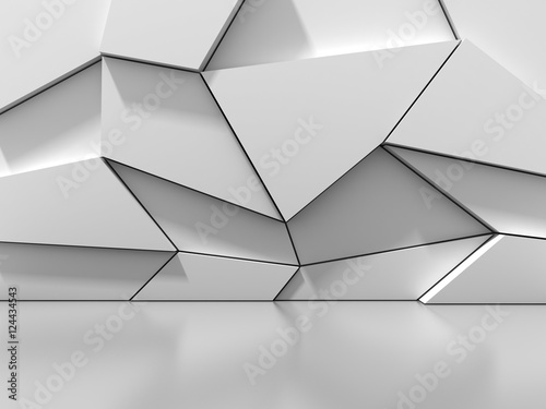 Abstract White Blocks Wall Background © VERSUSstudio