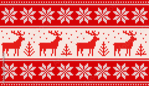 Cotton fabric Seamless knitting pattern with deers and nordic stars